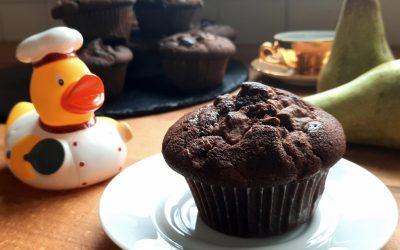 Muffin al cioccolato e pera